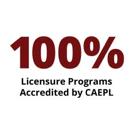Infographic: 100 percent Licensure Programs Accredited by CAEPL