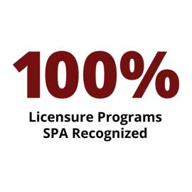 Infographic: 100 percent Licensure Programs SPA Recognized