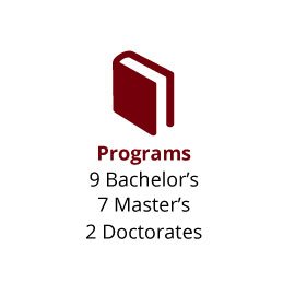 Infographic: Programs: 9 Bachelor's, 7 Master's, 2 Doctorates