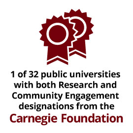 1 of only 32 public universities with both Research and Community Engagement designations from the Carnegie Foundation.