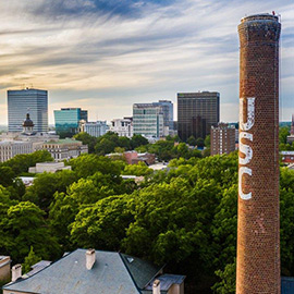 Skyline with the USC smoke stack and downtown Columbia buildings