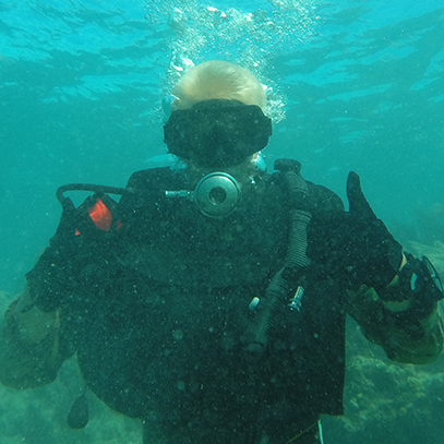 ROTC student scuba diving underwater