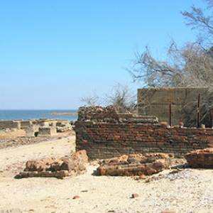 ruins of the lumber mill that are now visible on the shores of Lake Marion